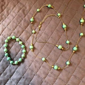 Silver and turquoise necklace and bracelet set
